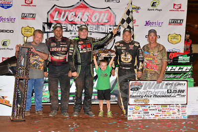 Jimmy Owens in Victory Lane for the Hillbilly 100 @ I-77 Raceway Park with Earl Pearson, Jr. and Steve Francis