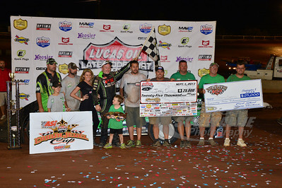 Jimmy Owens and crew in Victory Lane for the Hillbilly 100 @ I-77 Raceway Park