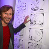 "Tom Toles,  Art Soiree hosts ""First-Term Retrospective"", a collection of critically acclaimed editorial cartoons.  MalMaison, Georgetown.  Photo by Ben Droz."