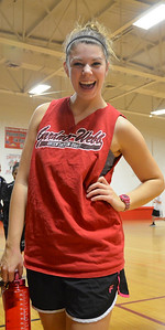 Hannah Covington finishes with excitement after playing in her first intramural basketball game this year.