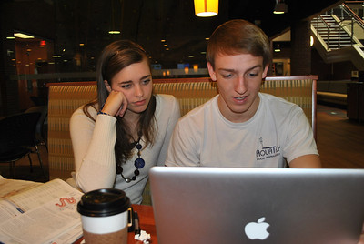 1-23-13: Brooke Rampy and Will Cottrell studying in Tucker.
