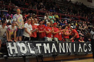 GWU Holtmanniacs cheer on the GWU team against UNC Asheville