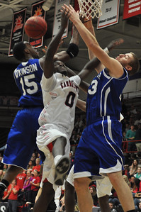 GWU Donata Harper is fouled during his shot against UNC Asheville