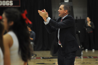 GWU Coach Holtmann praises the crowd and students for their support during the game against UNC Asheville