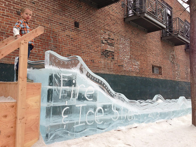 On our way out of town we spotted a slide made of ice