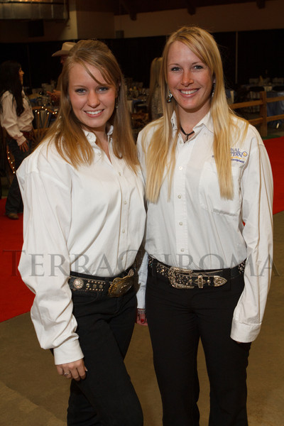Amanda Summers (El Paso County Fair Queen 2011) and Alecia Cushman (cq).  The 2013 Coors Western Art Exhibit and Sale Red Carpet Reception at the National Western Stock Show Complex in Denver, Colorado, on Tuesday, Jan. 8, 2013.<br /> Photo Steve Peterson