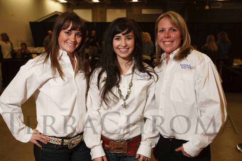 Scholarship recipients:  Britney Gordon, McKenzi Digby, and Alex Yager.  The 2013 Coors Western Art Exhibit and Sale Red Carpet Reception at the National Western Stock Show Complex in Denver, Colorado, on Tuesday, Jan. 8, 2013.<br /> Photo Steve Peterson