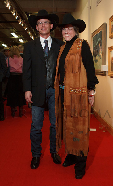 A couple from Houston, David and Brigid Murrell.  The 2013 Coors Western Art Exhibit and Sale Red Carpet Reception at the National Western Stock Show Complex in Denver, Colorado, on Tuesday, Jan. 8, 2013.<br /> Photo Steve Peterson