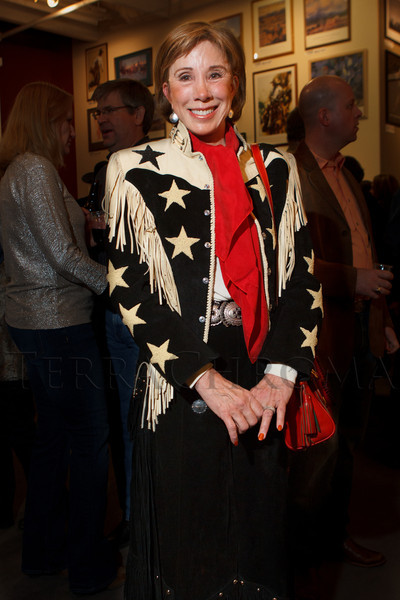 Nancy Gooding in a vintage jacket from Tucson, Arizona.  The 2013 Coors Western Art Exhibit and Sale Red Carpet Reception at the National Western Stock Show Complex in Denver, Colorado, on Tuesday, Jan. 8, 2013.<br /> Photo Steve Peterson