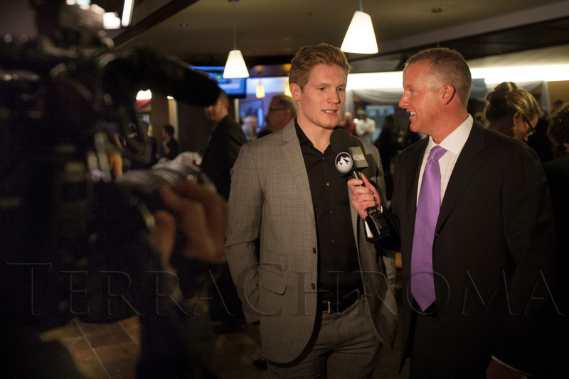 "Gabriel Landeskog is interviewed by Kyle Keefe.  ""Mile High Dreams Gala,"" benefiting Kroenke Sports Charities, at the Pepsi Center in Denver, Colorado, on Monday, Jan. 21, 2013.<br /> Photo Steve Peterson"