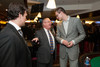 """Rick Giles and his father, Rich Giles, speak with Danilo Gallinari.  """"Mile High Dreams Gala,"""" benefiting Kroenke Sports Charities, at the Pepsi Center in Denver, Colorado, on Monday, Jan. 21, 2013.<br /> Photo Steve Peterson"""