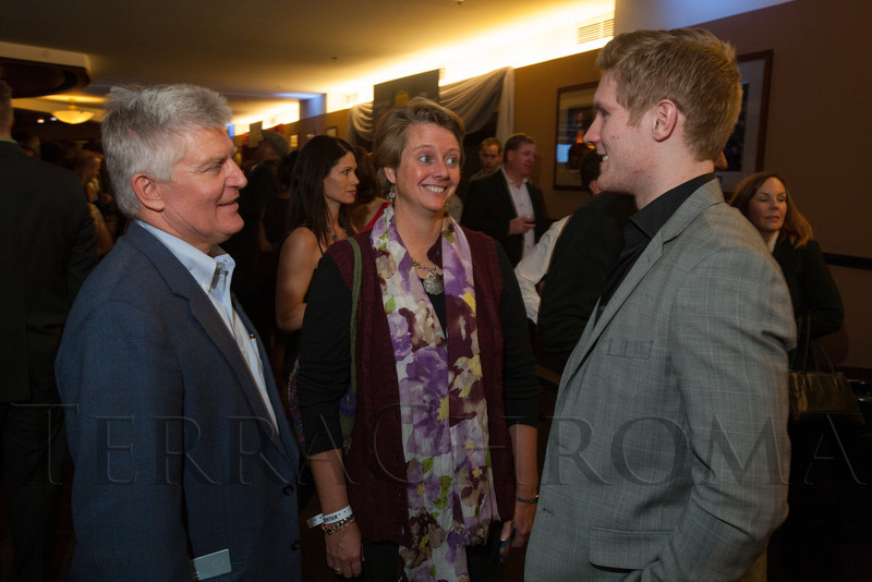 "Alan and Laura Magnuson speak with Gabriel Landeskog.  ""Mile High Dreams Gala,"" benefiting Kroenke Sports Charities, at the Pepsi Center in Denver, Colorado, on Monday, Jan. 21, 2013.<br /> Photo Steve Peterson"