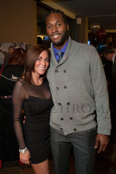 "Audrey Kaatz and Colorado Rapids goalkeeper Steward Ceus.  ""Mile High Dreams Gala,"" benefiting Kroenke Sports Charities, at the Pepsi Center in Denver, Colorado, on Monday, Jan. 21, 2013.<br /> Photo Steve Peterson"