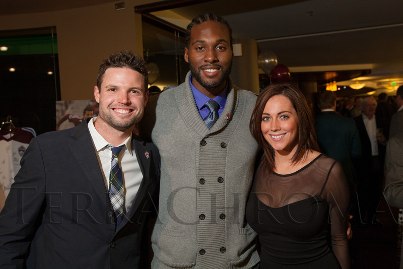 "Colorado Rapids players, Drew Moor and Steward Ceus, and Audrey Kaatz.  ""Mile High Dreams Gala,"" benefiting Kroenke Sports Charities, at the Pepsi Center in Denver, Colorado, on Monday, Jan. 21, 2013.<br /> Photo Steve Peterson"