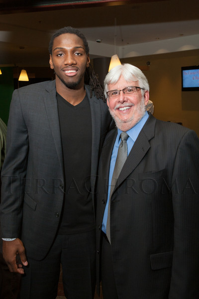 "Kenneth Faried and Jim White.  ""Mile High Dreams Gala,"" benefiting Kroenke Sports Charities, at the Pepsi Center in Denver, Colorado, on Monday, Jan. 21, 2013.<br /> Photo Steve Peterson"