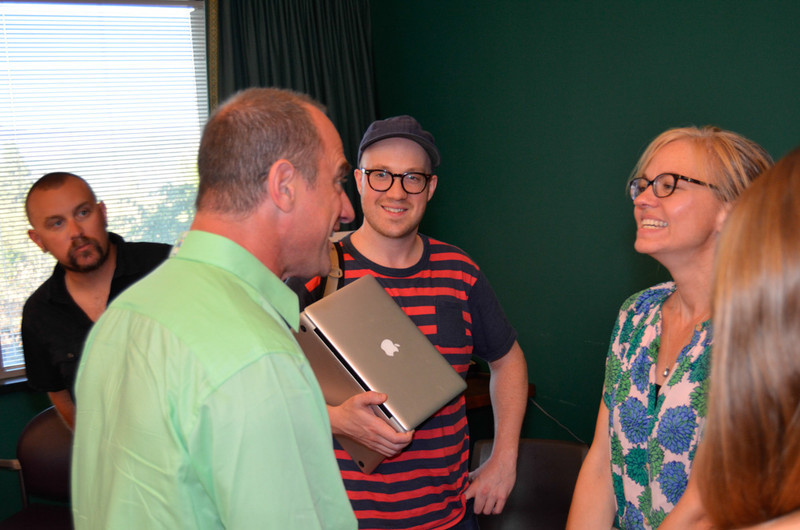The 24 Hour Plays participants meet for the first time. Christopher Meloni, Alexander Barrett, Tina Fallon.