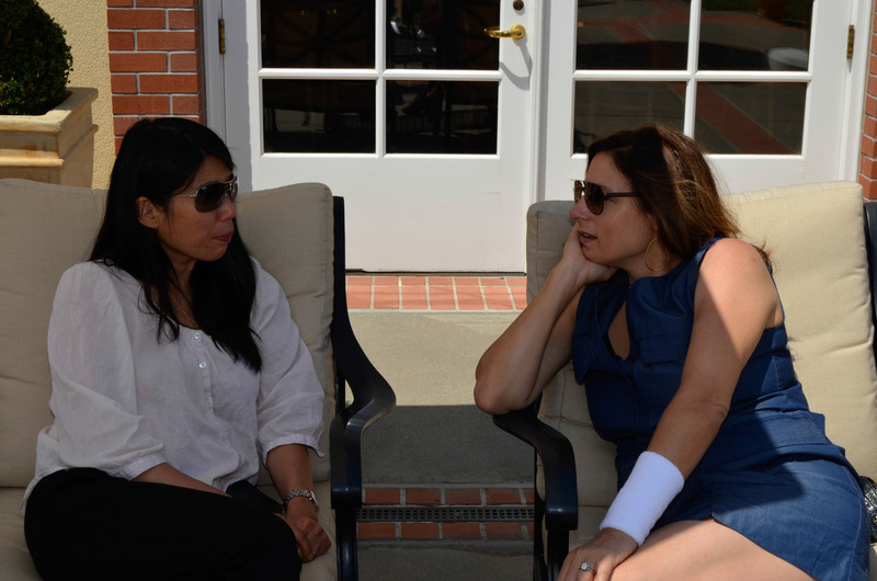 Sparkling Brunch at Domaine Carneros. Actor Amy Povich (right) and guest.