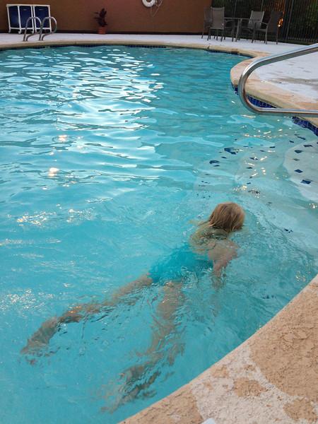 Amelia showing her swimming skills