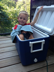 Airing out the cooler after our trip to the beach house and Connor moves in