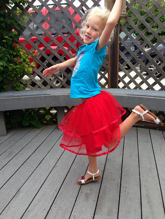 "Amelia's 4th of July ensemble. She was pretty upset that she didn't have a ""dark"" blue shirt to pair with her red tutu."