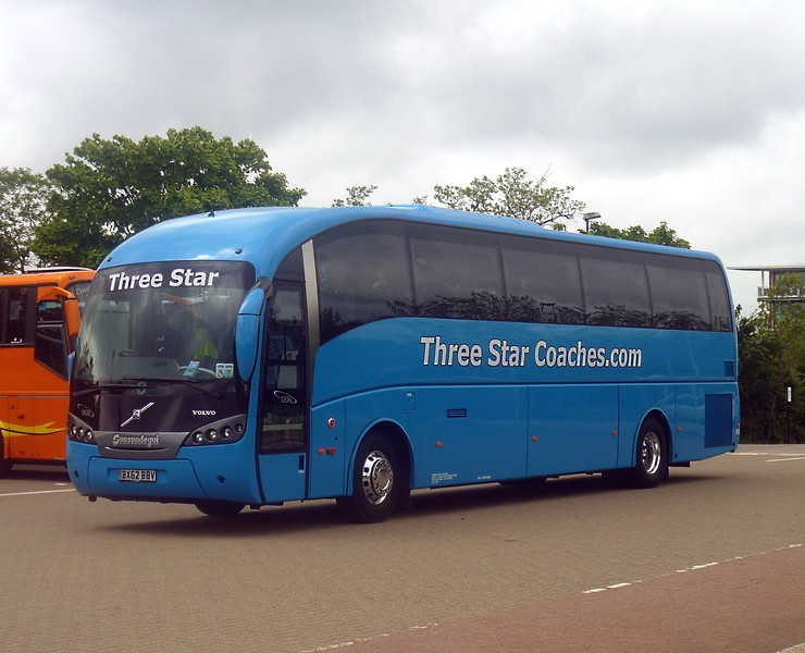 Three Star Coaches Volvo 'Sunsundegui' BX62BBV arriving into Milton Keynes Central Coach Park, 13/06/2013.