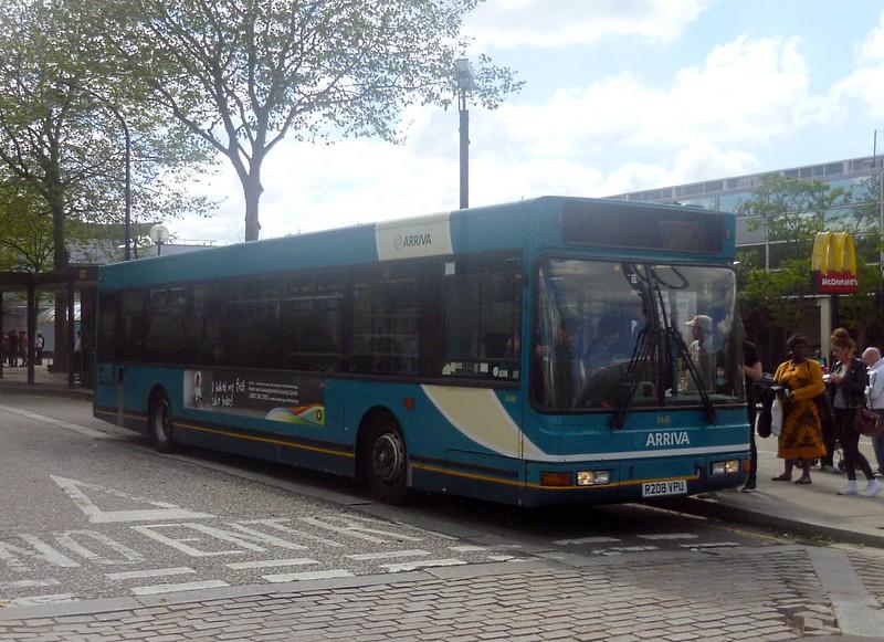 Arriva DAF Plaxton Prestige R208VPU 3448 at Milton Keynes on the 150 to Aylesbury, 14/06/2013.
