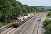26 June 2013 :: 66015 with 6X38 from Eastleigh to Didcot is passing Moulsford