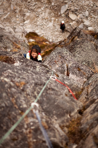 Tracy follows up the odd and easy route <i>Ruby Shoes 5.7</i> on the Diamond.
