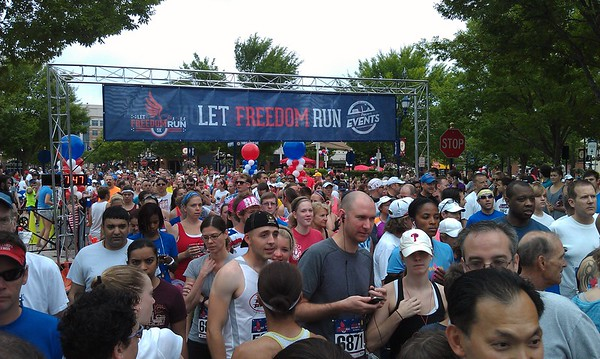 Runners take their positions to begin the race