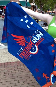 Instead of a t-shirt, each runner received a beach towel