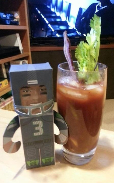 Russell Wilson with a Bloody Mary