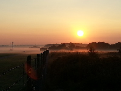 Sunrise in the mist at Luton Airport [Mobile Phone]
