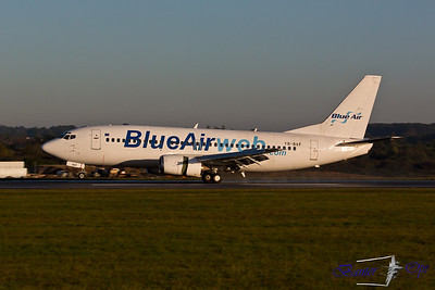 Boeing 737 YR-BAF Blue Air Touches down on Runway 26