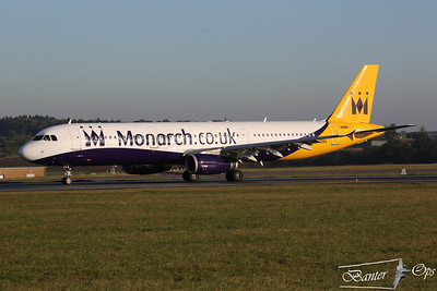 "Airbus A.321 G-OZBG Monarch Airlines Departs Luton as ""MON 070P"""