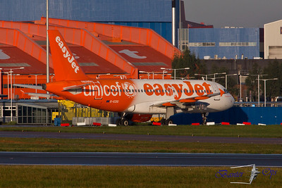 Airbus A.319  G-EZIO Easyjet Sits on the South Stands in Unicef Livery