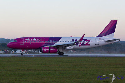 "Airbus A.320 HA-LWR Wizz Air Sporting winglets departs as ""WZZ 87Q"""