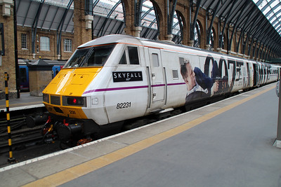DVT 82231 at Kings Cross awaiting departure back to Leeds in its unique Skyfall Vinyls Livery.