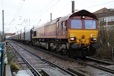 66074 1035/6v13 Dollands Moor-Margam passing Mitre Bridge Crossing.