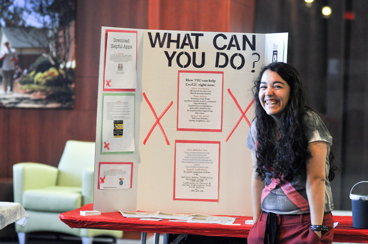 Students put on the Human Trafficking Awareness Fair on Tuesday March 19, 2013, in order to learn from and inform their fellow students about the prevalence of modern slavery.