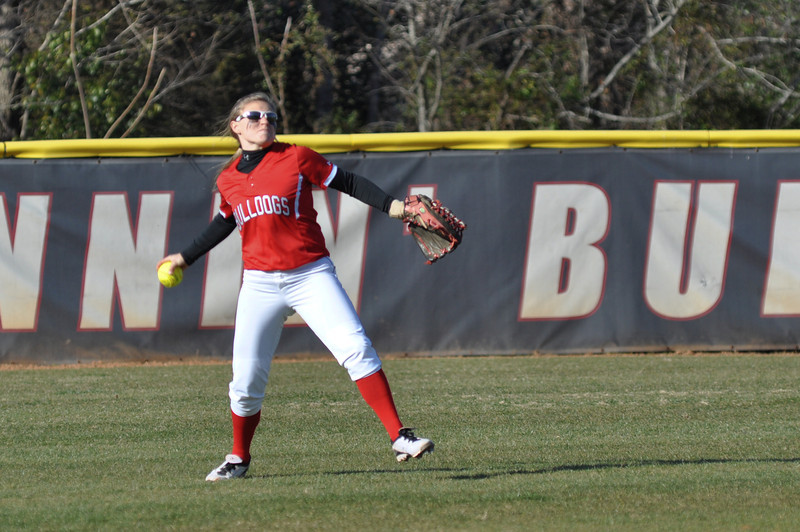 Melinda Dulkowski throws in a catch from the outfield against USC Upstate Thursday March 7, 2013.