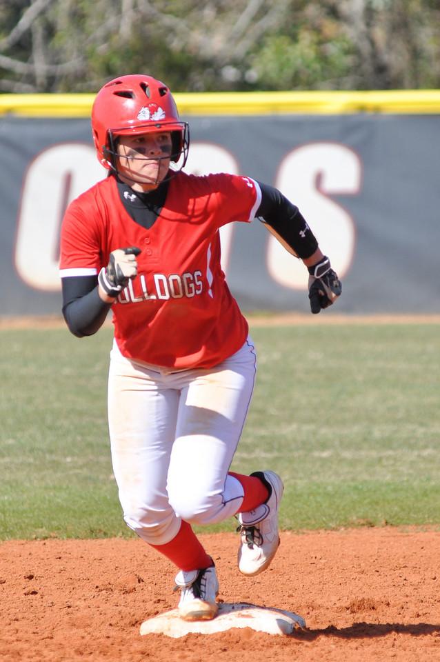 Savannah Burns runs a base against USC Upstate Thursday March 7, 2013.