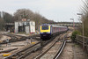 29 March 2013 :: As Reading station was closed First Great Western west country services were routed into Waterloo.  The 1107 from Waterloo to Penzance (1V40) with 43017 and 43069 on the rear are seen approaching Basingstoke
