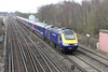 30 March 2013 :: As part of the First Great Western diverted trains, 43003 heads the 0545 Plymouth to Waterloo at Worting.  43180 is on the rear