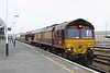 27 March 2013 :: 66007 hauling 60071 which had failed and in need of mechanical attention along with 2 TTA's and blue car carriers through Eastleigh from the yard to the depot