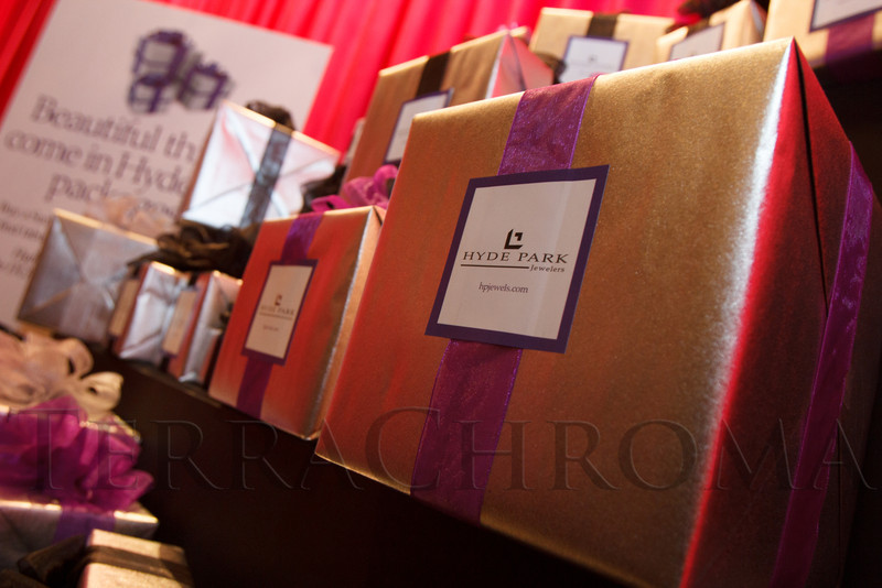 Surprise boxes provided by Hyde Park Jewelers.  Saturday Night Alive, benefiting the Denver Center Theatre Company and its Education Department, at the Denver Center for Performing Arts, Seawell Ballroom, in Denver, Colorado, on Saturday, March 2, 2013.<br /> Photo Steve Peterson