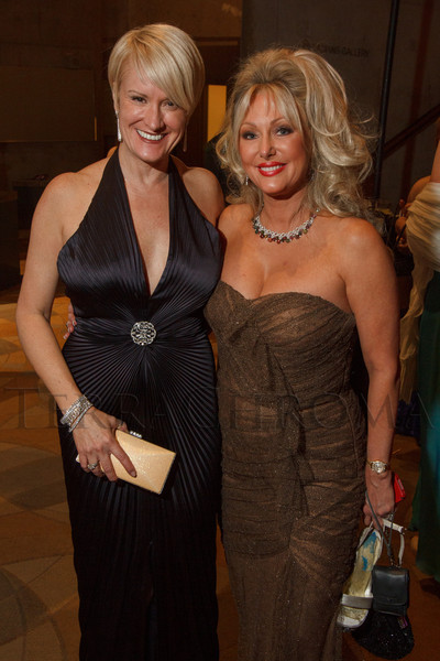 Denise Belucci and Stephanie Odak, both in Carmen Marc Valvo.  Saturday Night Alive, benefiting the Denver Center Theatre Company and its Education Department, at the Denver Center for Performing Arts, Seawell Ballroom, in Denver, Colorado, on Saturday, March 2, 2013.<br /> Photo Steve Peterson
