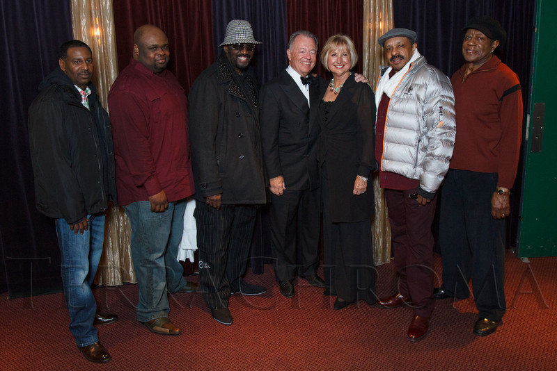 Bob and Judi Newman with The Temptations.  Saturday Night Alive, benefiting the Denver Center Theatre Company and its Education Department, at the Denver Center for Performing Arts, Seawell Ballroom, in Denver, Colorado, on Saturday, March 2, 2013.<br /> Photo Steve Peterson