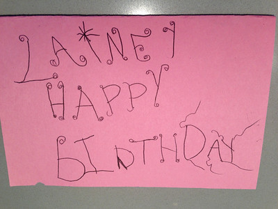 Birthday card by Amelia for her friend, Lainey. Loved the curly letters.