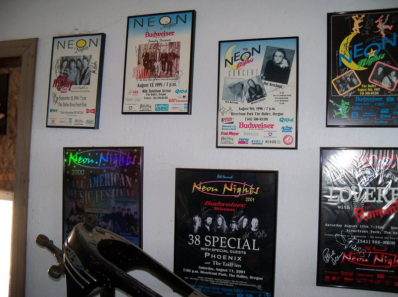Old posters from bands who used to play in the area back in the day