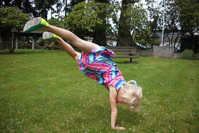 Amelia working on her cartwheel